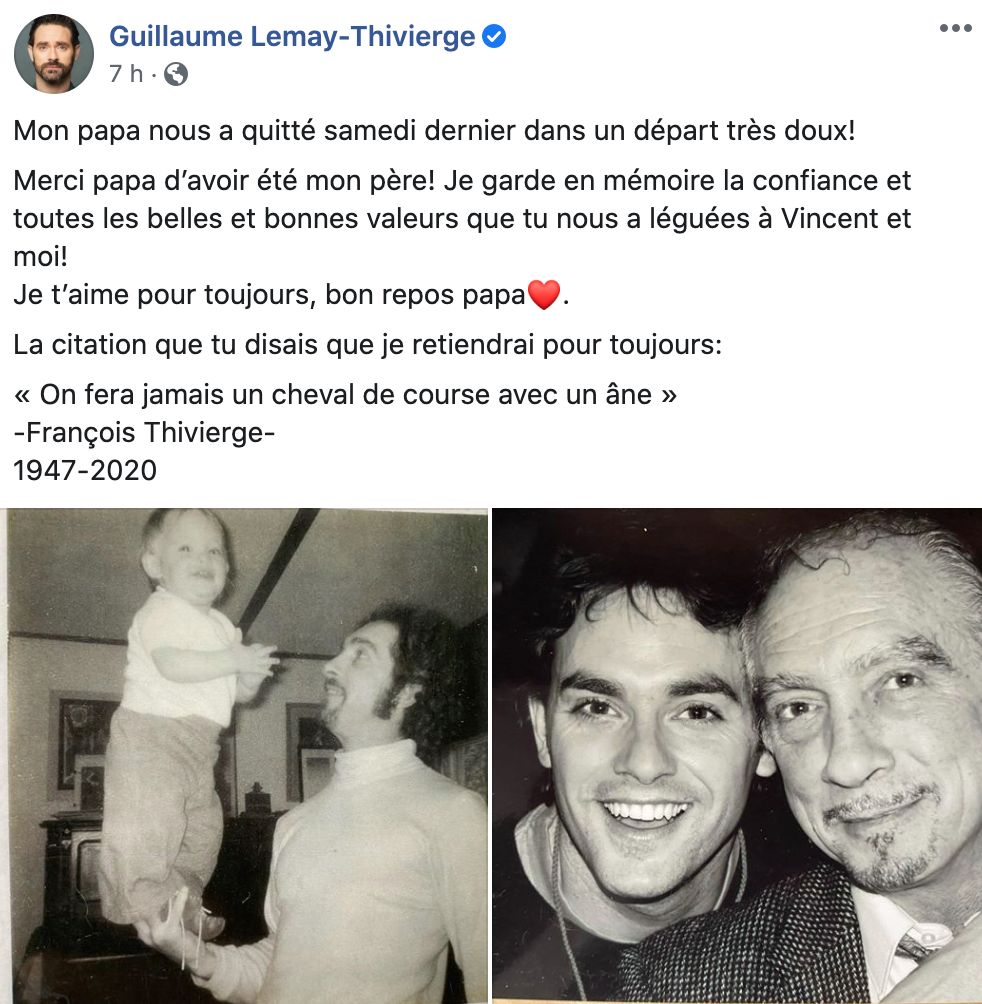 Guillaume Lemay Thivierge deuil